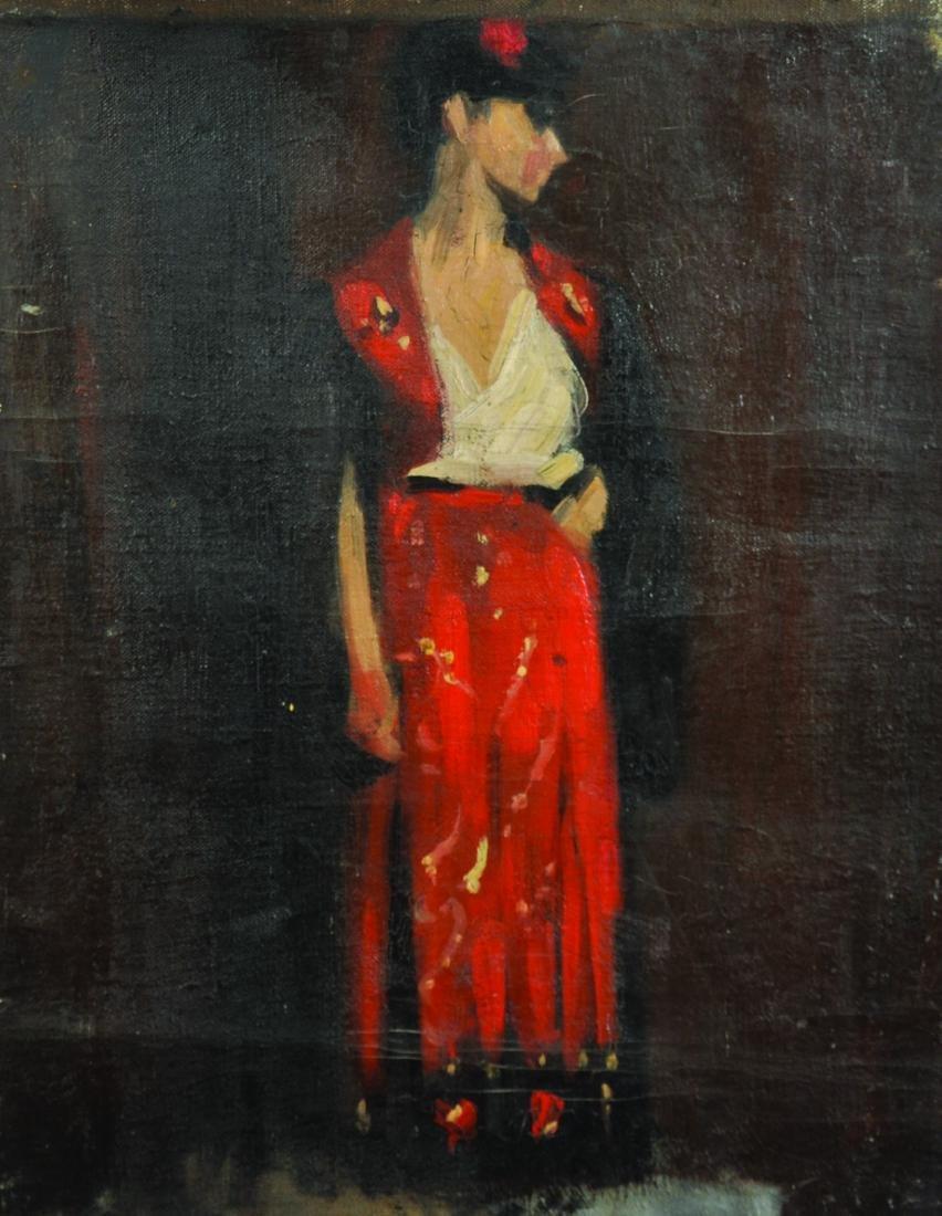 20th Century English School. A Flamenco Dancer, Oil on