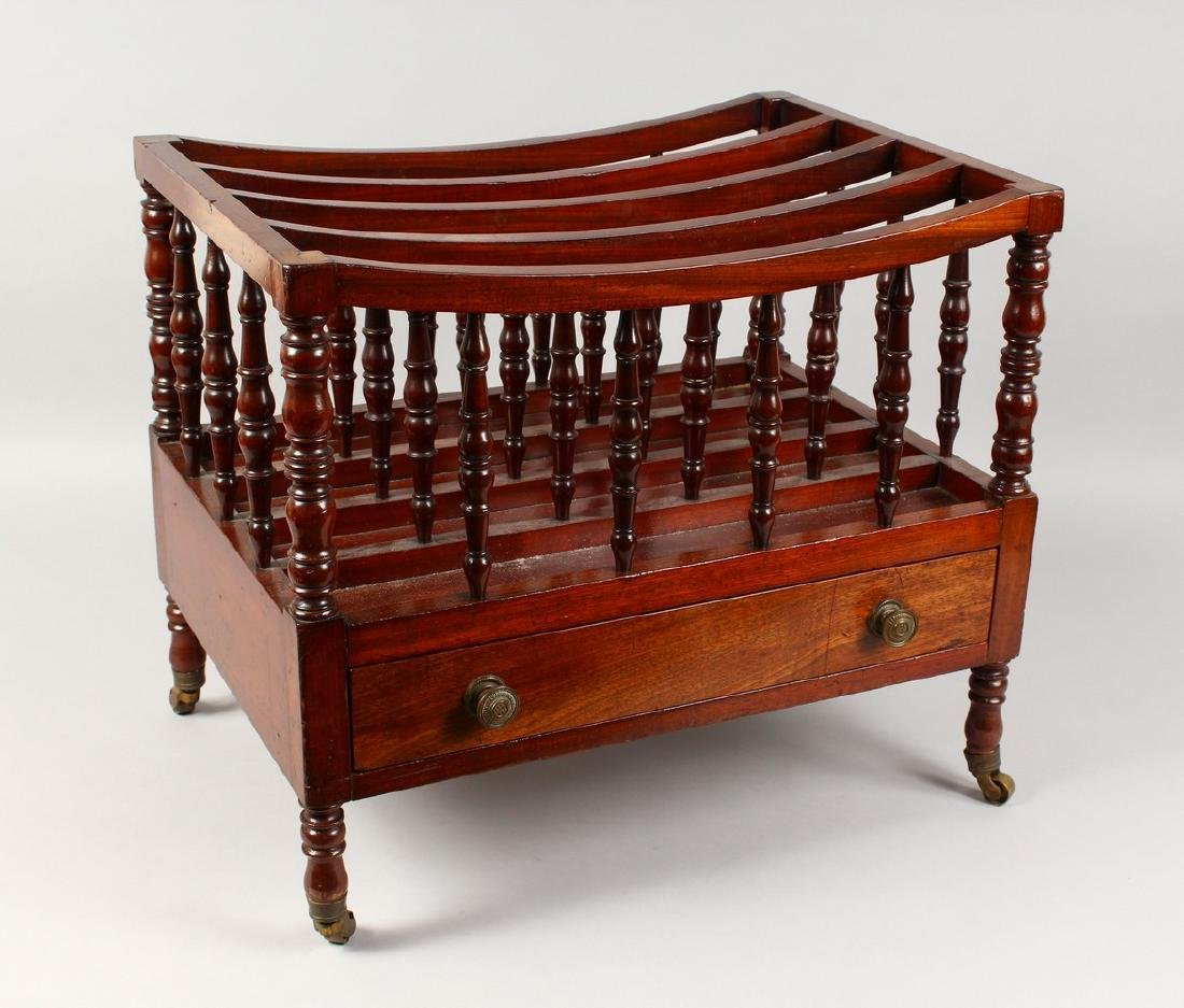A 19TH CENTURY MAHOGANY FOUR DIVISION CANTERBURY, with