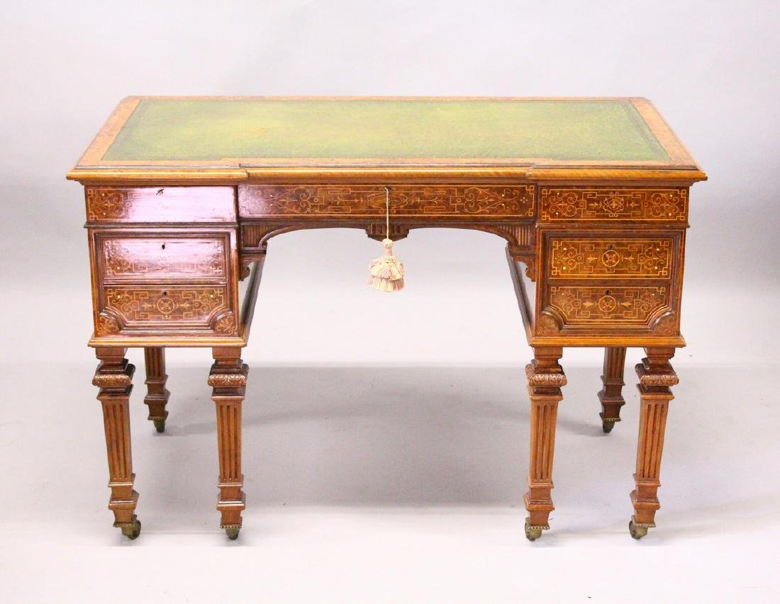 A GOOD 19TH CENTURY WALNUT AND MARQUETRY KNEEHOLE DESK,