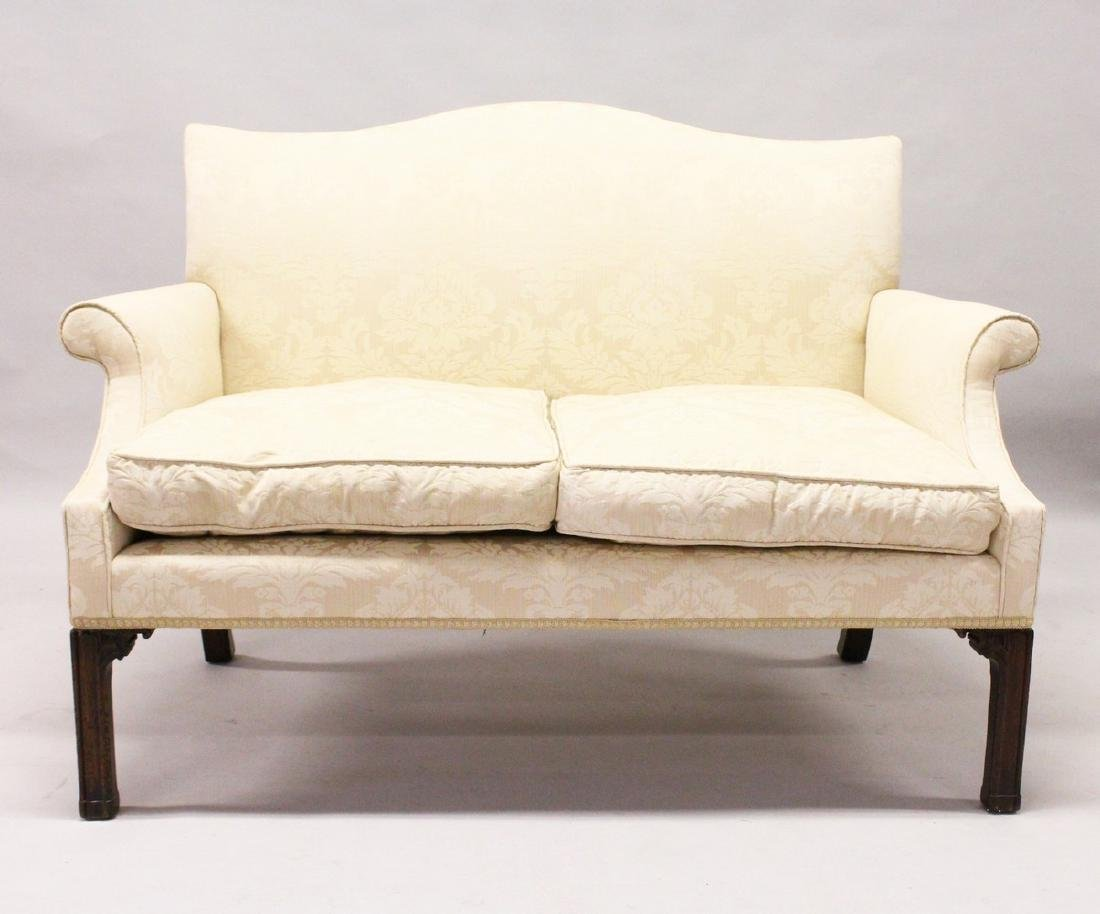 A GEORGE III DESIGN MAHOGANY FRAMED TWO-SEATER SETTEE,