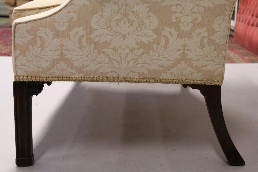 A GEORGE III DESIGN MAHOGANY FRAMED TWO-SEATER SETTEE, - 4