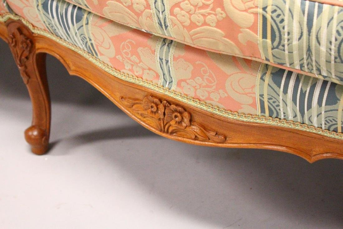A MODERN FRENCH STYLE THREE-SEATER SETTEE, with carved - 4