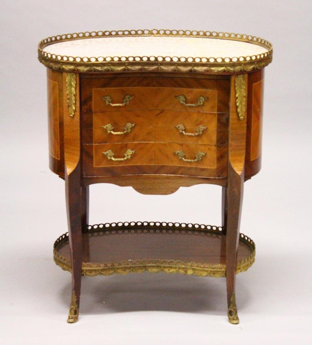 A LOUIS XVI DESIGN KIDNEY SHAPED TABLE, with marble