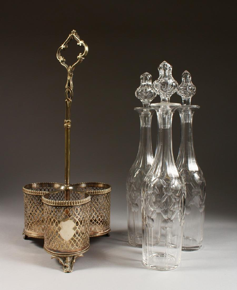 A GOOD SET OF THREE CUT GLASS TALL DECANTERS AND - 2