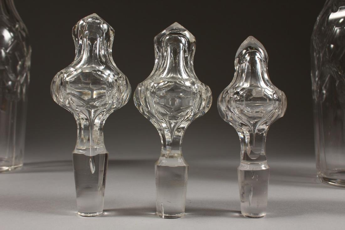A GOOD SET OF THREE CUT GLASS TALL DECANTERS AND - 9