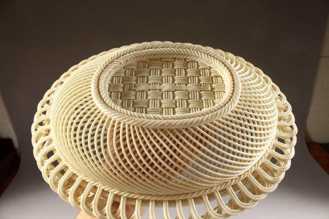 A VERY GOOD BELLEEK OVAL PIERCED BASKET AND COVER, - 10
