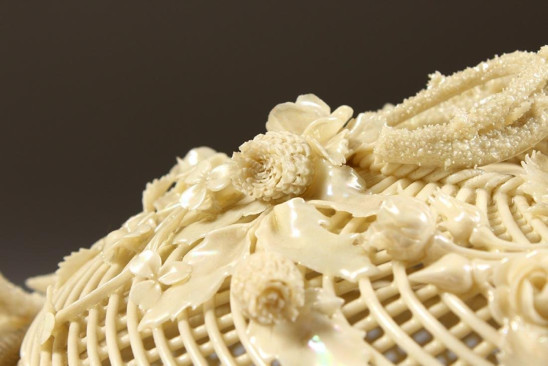 A VERY GOOD BELLEEK OVAL PIERCED BASKET AND COVER, - 3