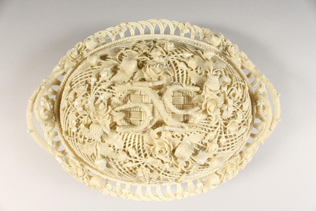 A VERY GOOD BELLEEK OVAL PIERCED BASKET AND COVER, - 5