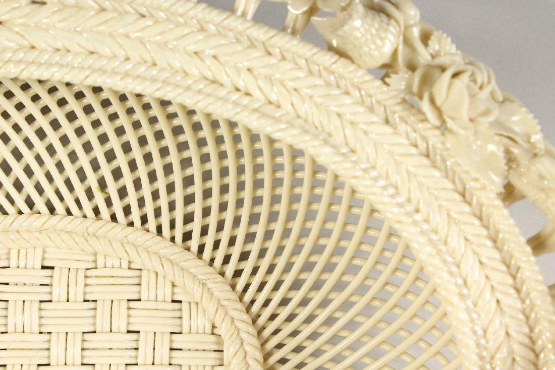 A VERY GOOD BELLEEK OVAL PIERCED BASKET AND COVER, - 8