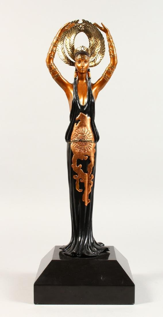 ERTE  A SUPERB THREE-COLOUR BRONZE OF A YOUNG LADY,