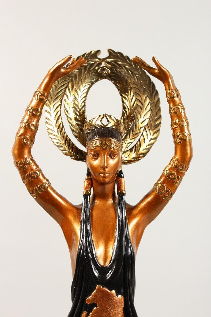 ERTE  A SUPERB THREE-COLOUR BRONZE OF A YOUNG LADY, - 2