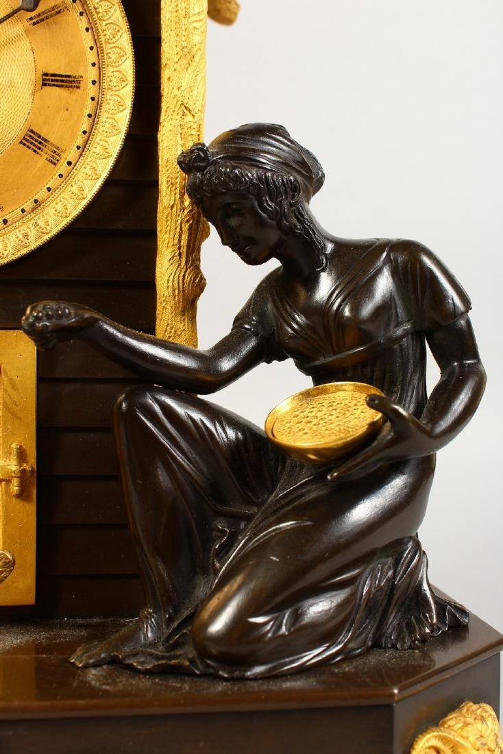 A VERY GOOD BRONZE AND ORMOLU CLOCK, the movement - 3