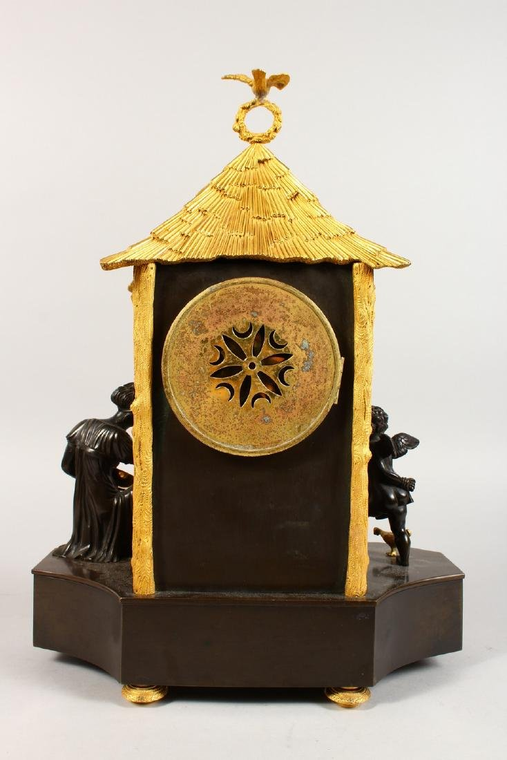 A VERY GOOD BRONZE AND ORMOLU CLOCK, the movement - 8