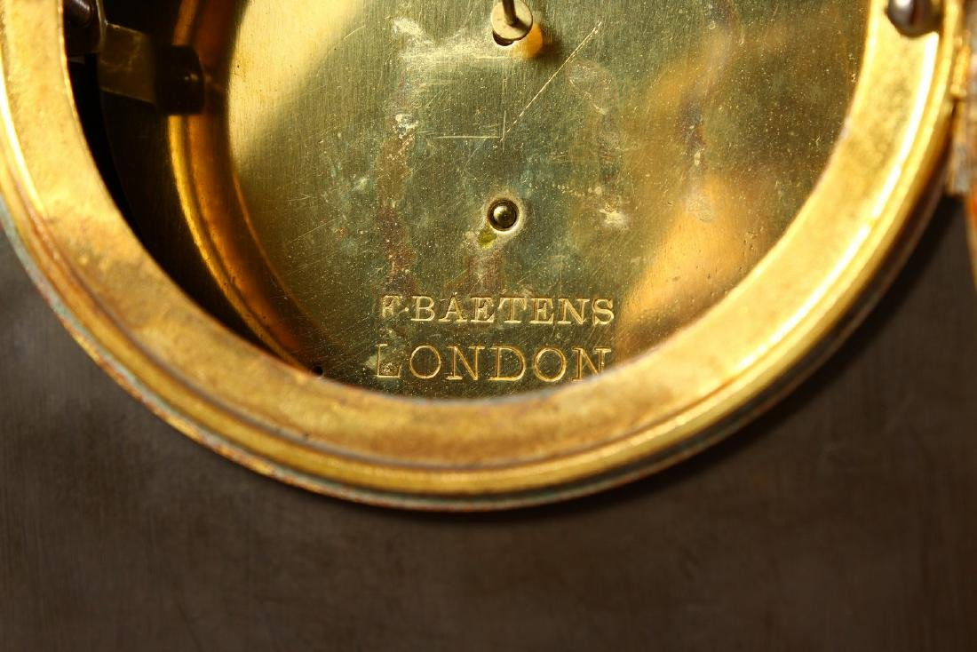 A VERY GOOD BRONZE AND ORMOLU CLOCK, the movement - 9