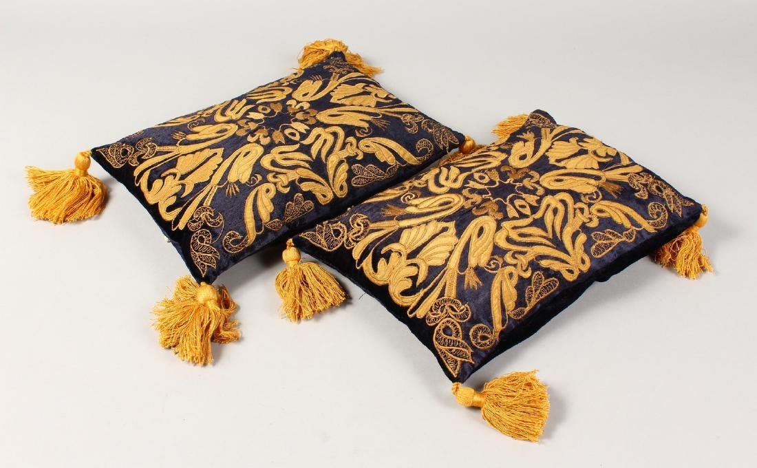 A PAIR OF MUSEUM COLLECTION CUSHIONS, Style Iron Works
