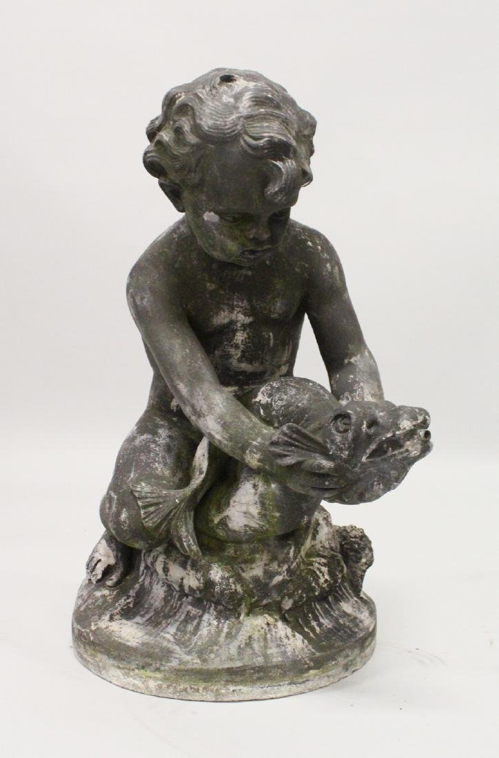 A LEAD GARDEN FOUNTAIN, PROBABLY 19TH CENTURY, modelled