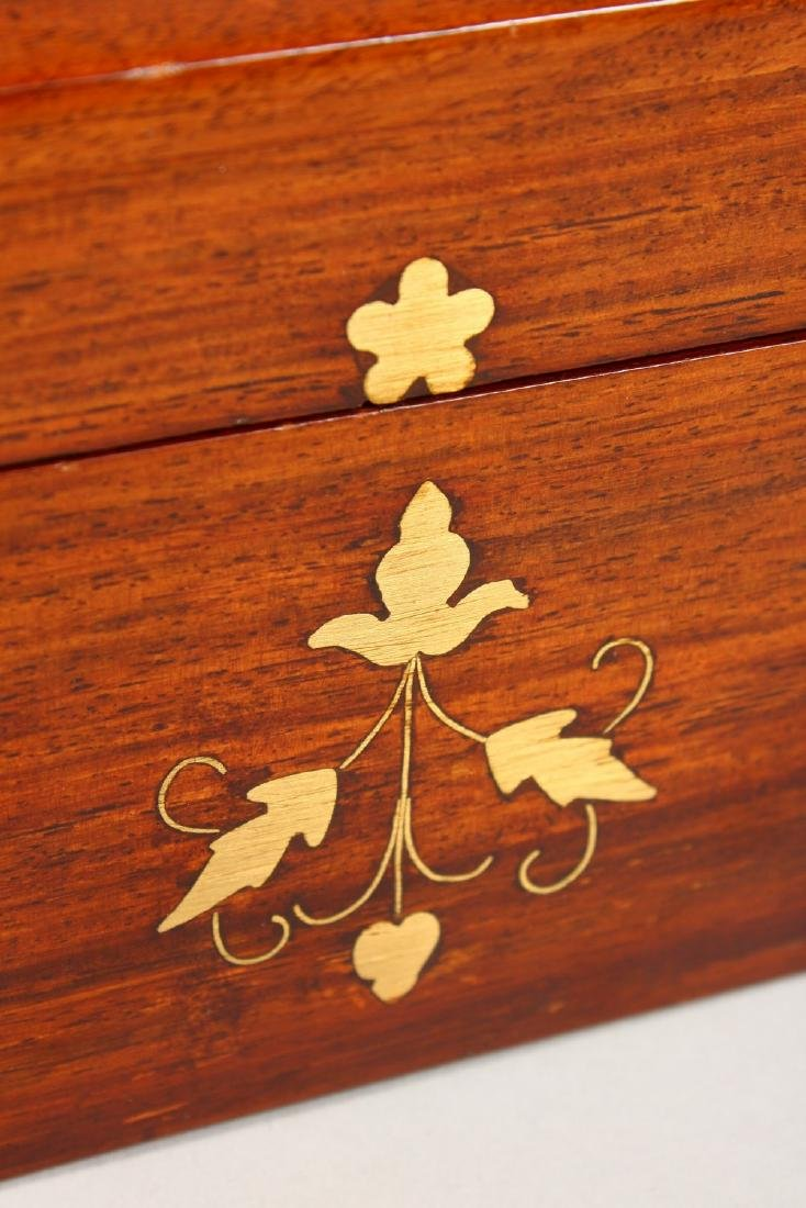 A MAHOGANY DOME TOP JEWELLERY BOX, with brass inlaid - 2