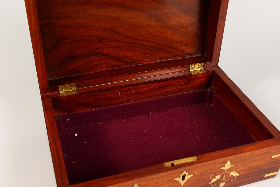 A MAHOGANY DOME TOP JEWELLERY BOX, with brass inlaid - 5