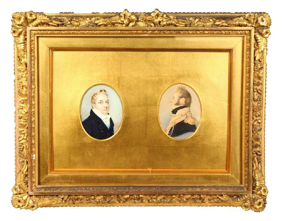 A GOOD GILT FRAMED DOUBLE PORTRAIT, of two gentlemen,