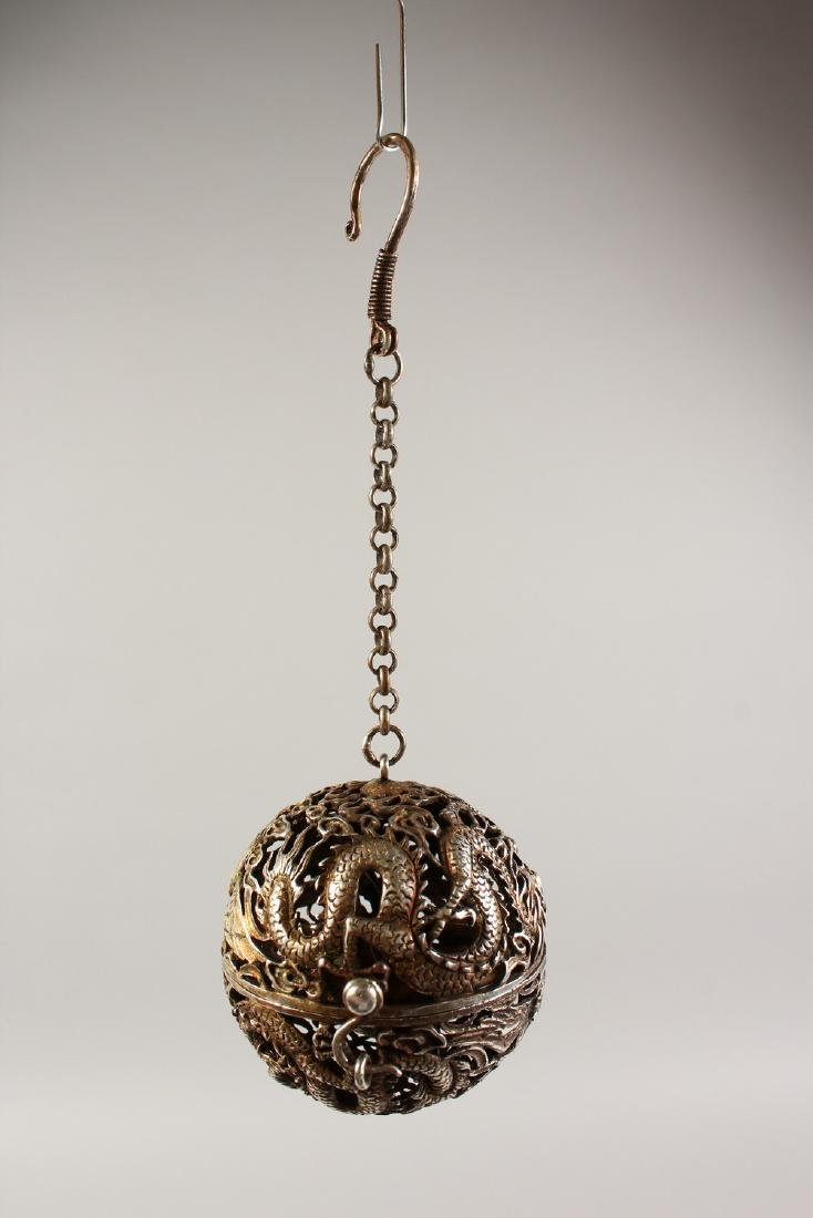 A CHINESE PIERCED BALL TRAVELLING CENSER. - 2