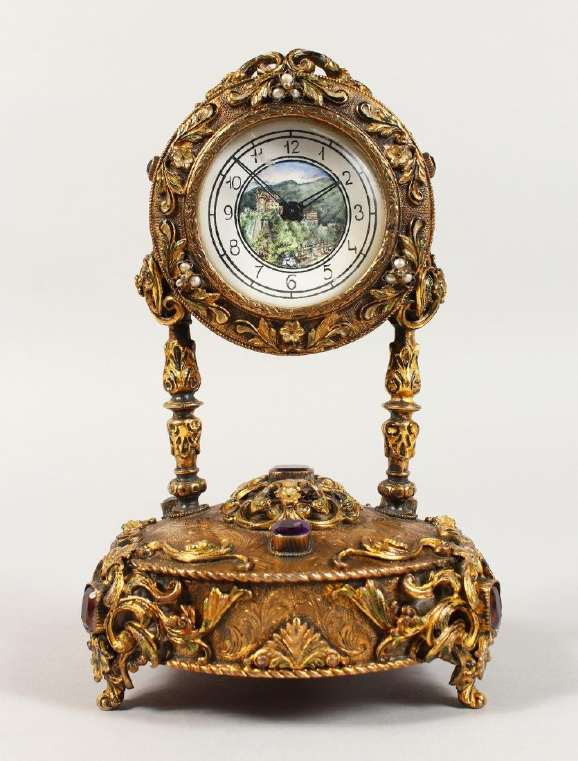 A VERY GOOD RUSSIAN SILVER GILT MUSICAL CLOCK, set with