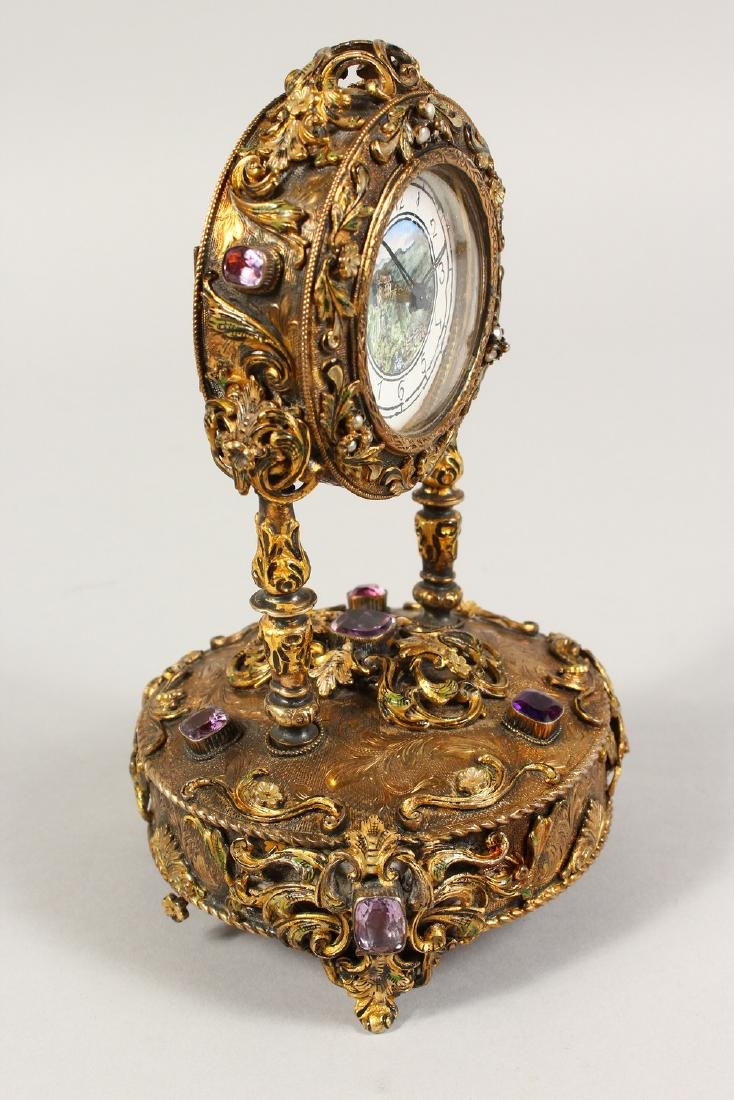 A VERY GOOD RUSSIAN SILVER GILT MUSICAL CLOCK, set with - 2