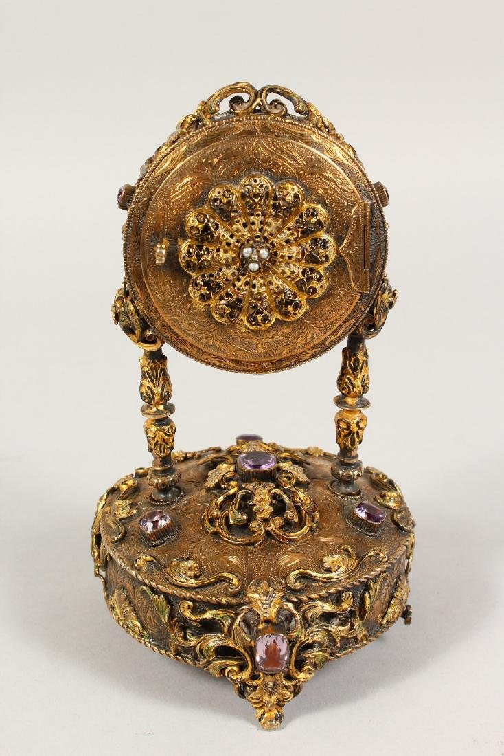 A VERY GOOD RUSSIAN SILVER GILT MUSICAL CLOCK, set with - 3