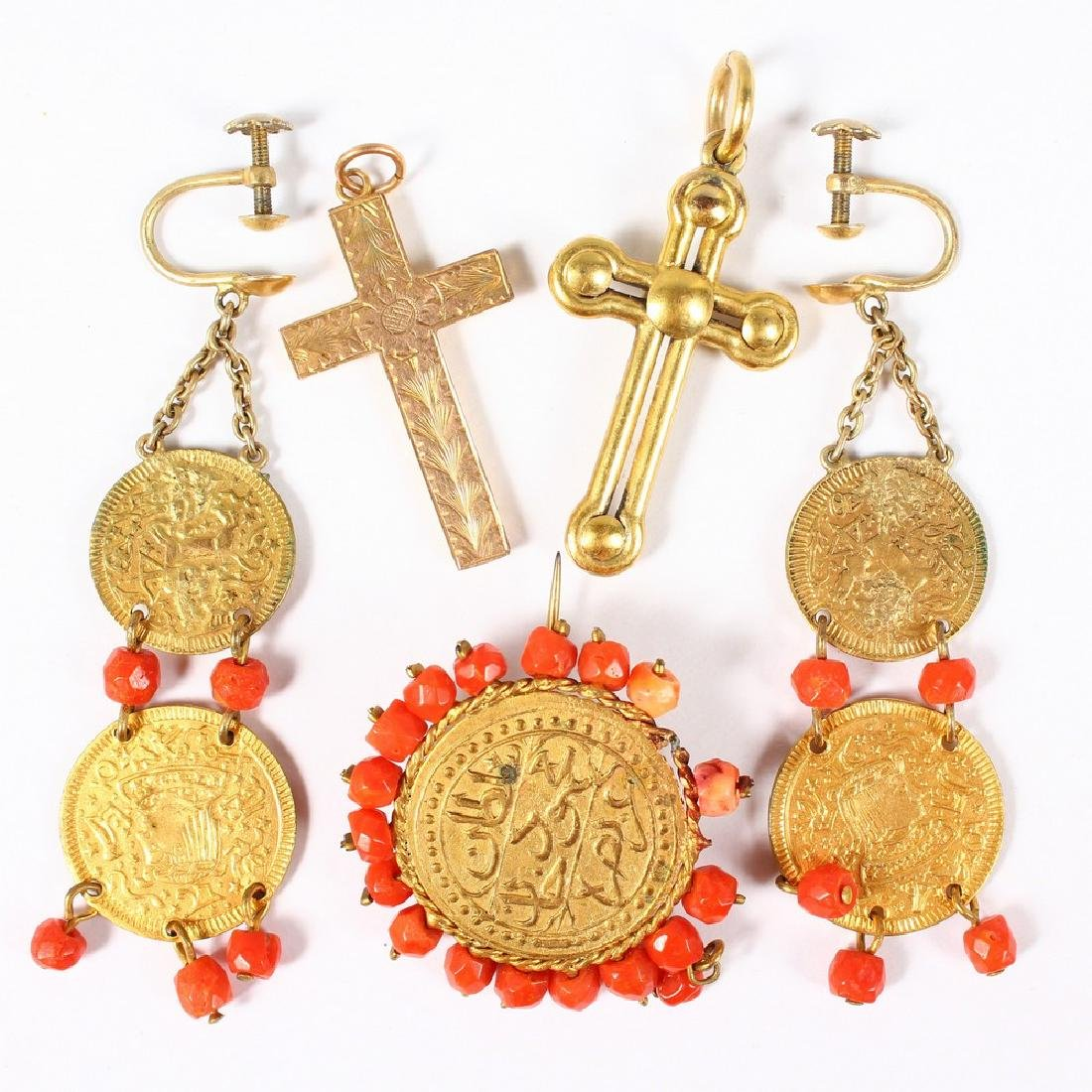 TWO GOLD CROSSES, COIN BROOCH AND DROP EARRINGS.