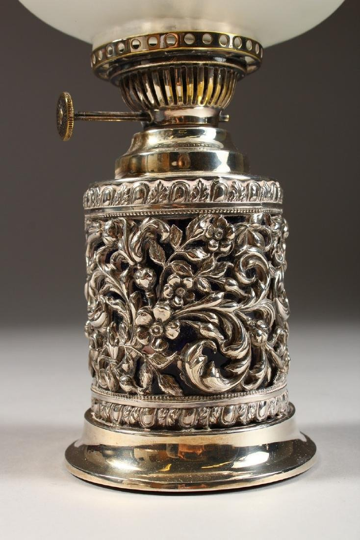 A VICTORIAN SILVER MOUNTED OIL LAMP, with funnel and - 2