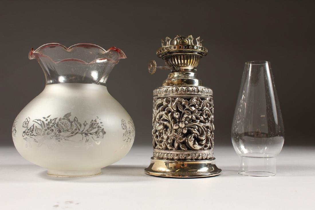 A VICTORIAN SILVER MOUNTED OIL LAMP, with funnel and - 4