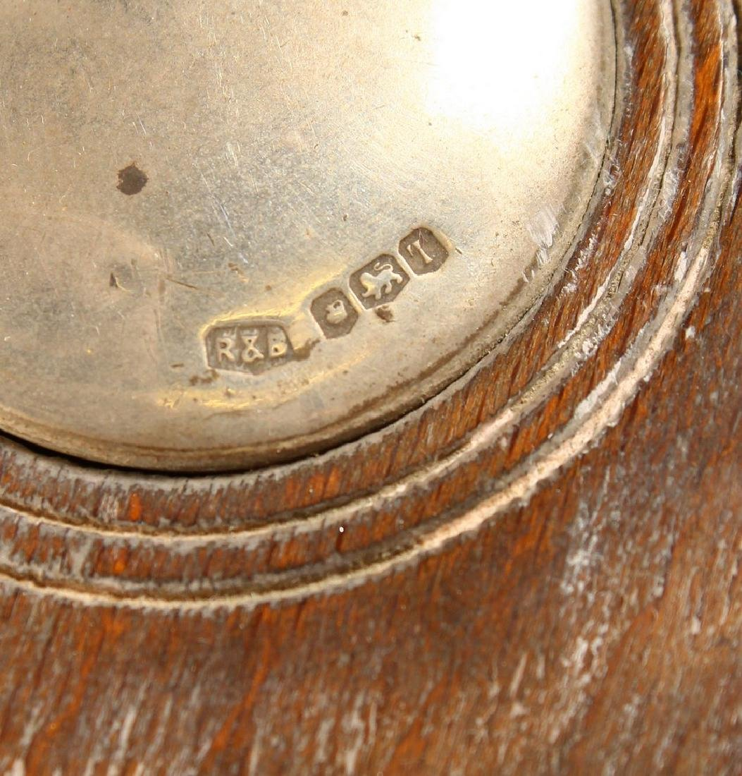 A SILVER WINE COASTER, with turned wood base, Sheffield - 8