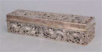 A CHINESE SILVER RECTANGULAR BOX circa 1900 weighing