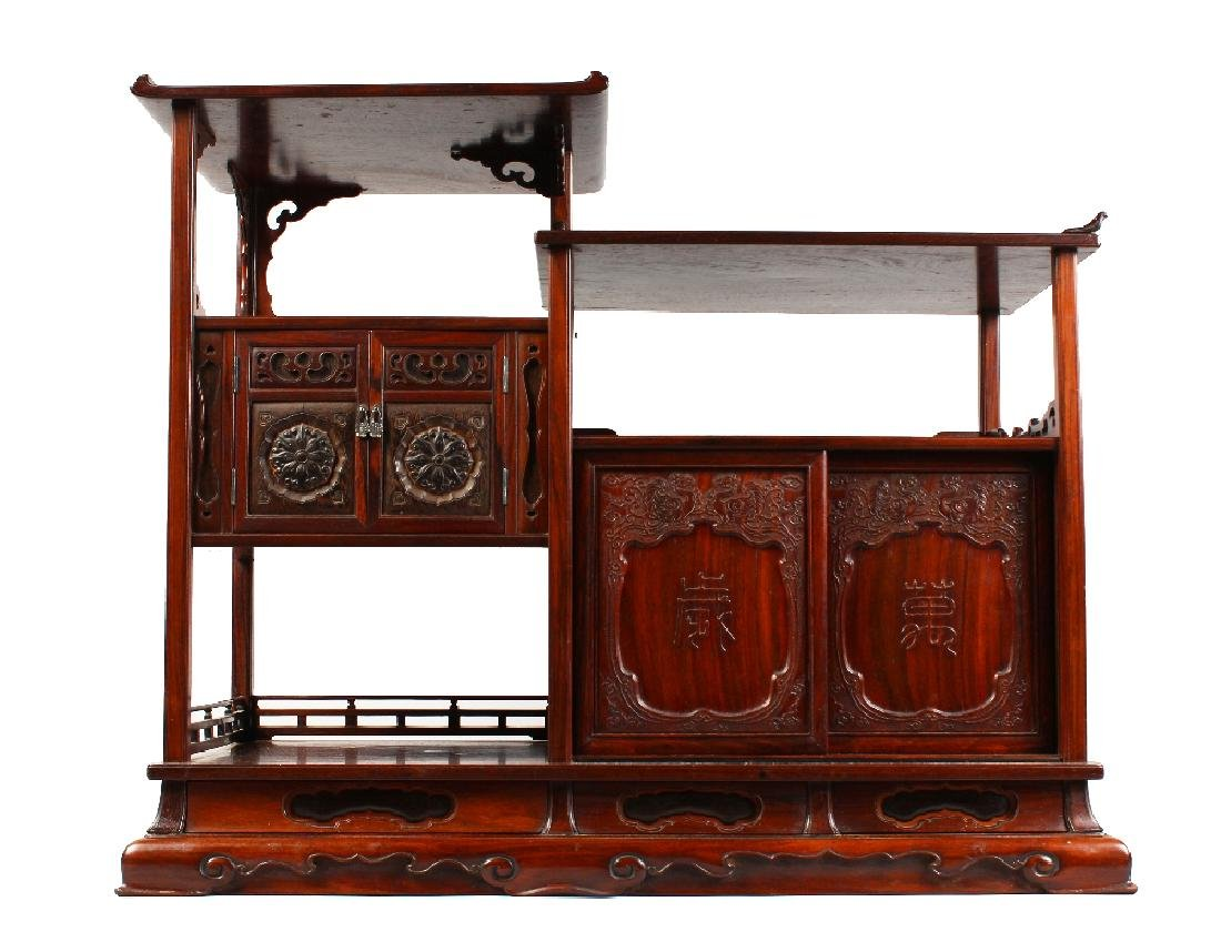 A GOOD CHINESE HARDWOOD TABLE CABINET, possibly