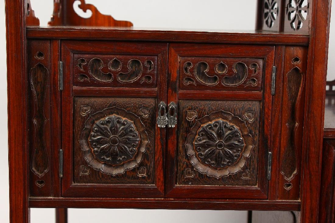 A GOOD CHINESE HARDWOOD TABLE CABINET, possibly - 4