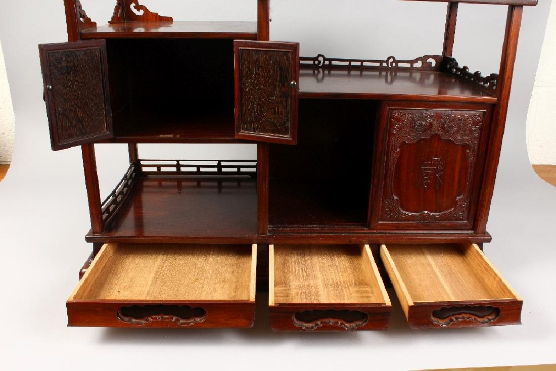 A GOOD CHINESE HARDWOOD TABLE CABINET, possibly - 6