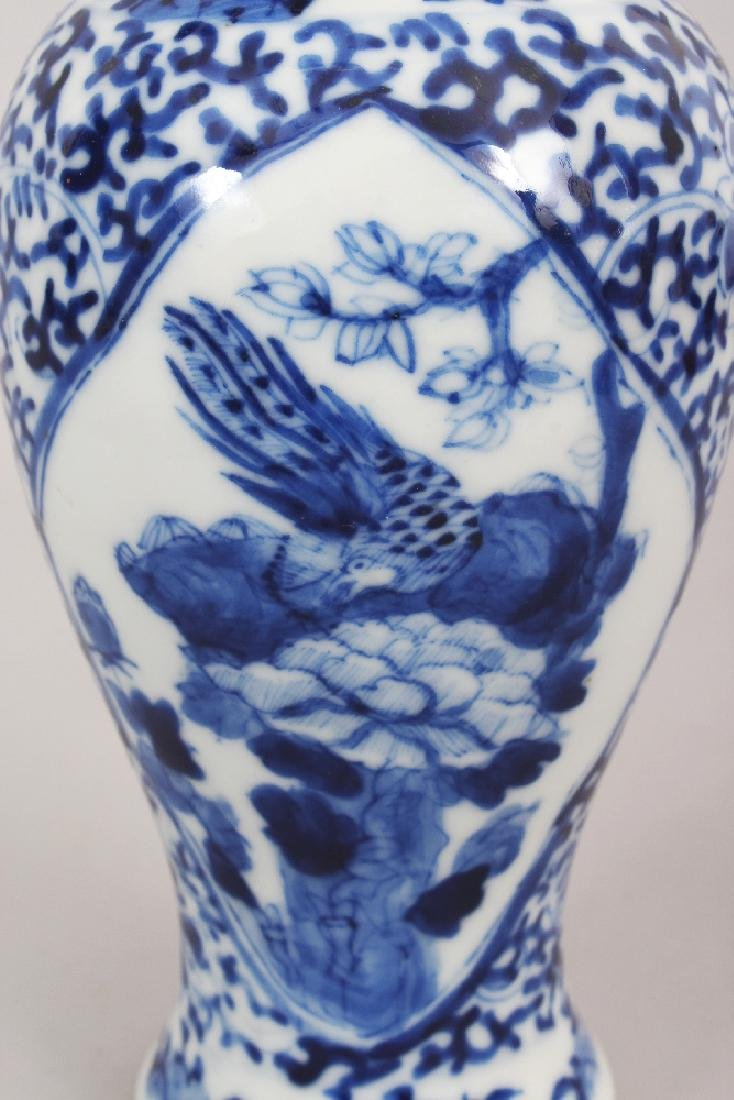 A 19TH CENTURY CHINESE BLUE & WHITE PORCELAIN VASE & - 5