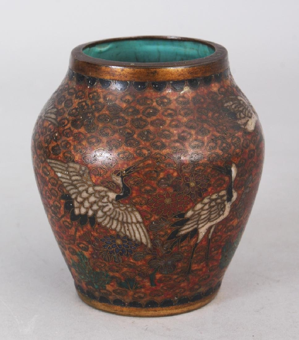 A SMALL JAPANESE MEIJI PERIOD CLOISONNE VASE, decorated