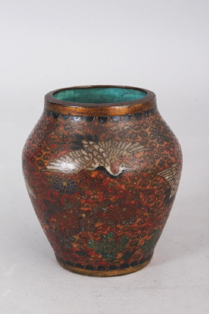 A SMALL JAPANESE MEIJI PERIOD CLOISONNE VASE, decorated - 2