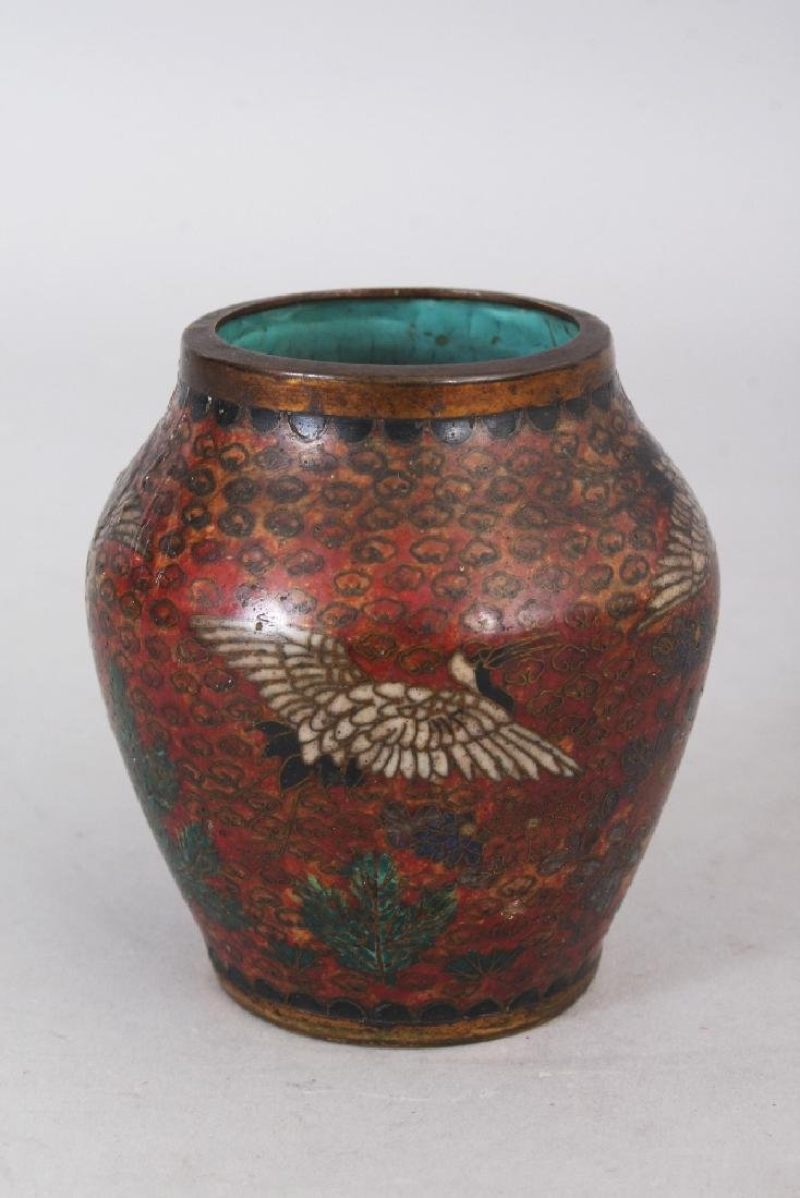 A SMALL JAPANESE MEIJI PERIOD CLOISONNE VASE, decorated - 3