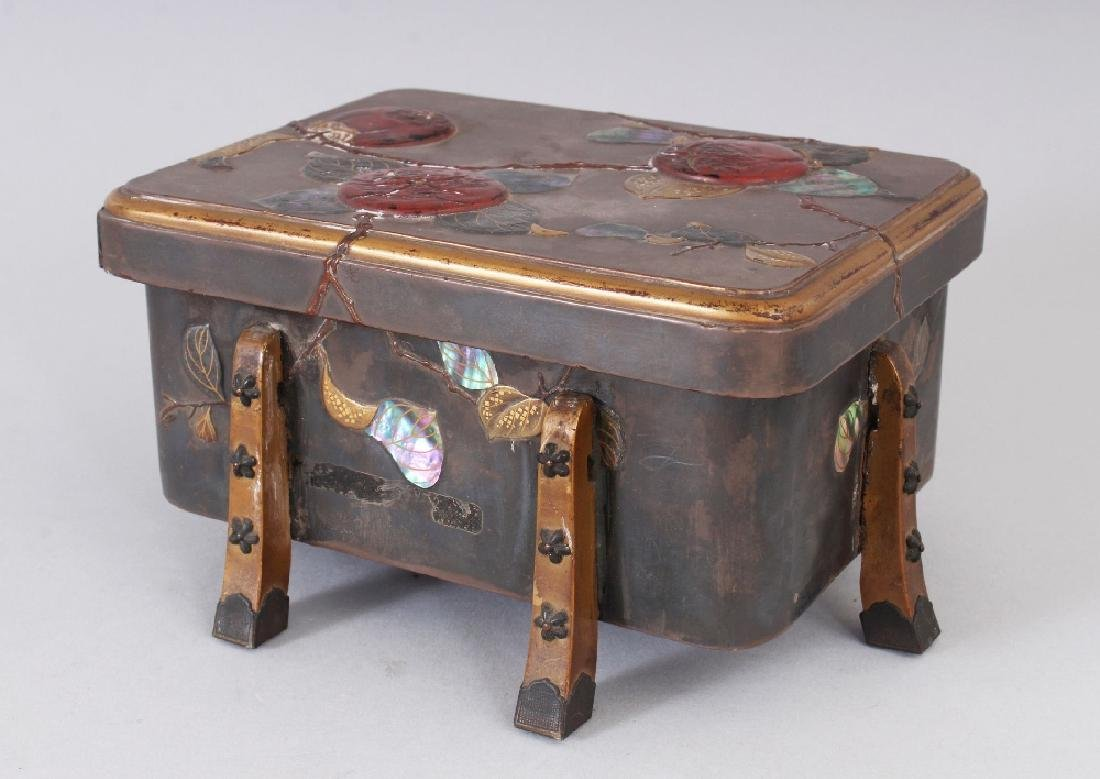 A JAPANESE MEIJI PERIOD LACQUER BOX & COVER, with