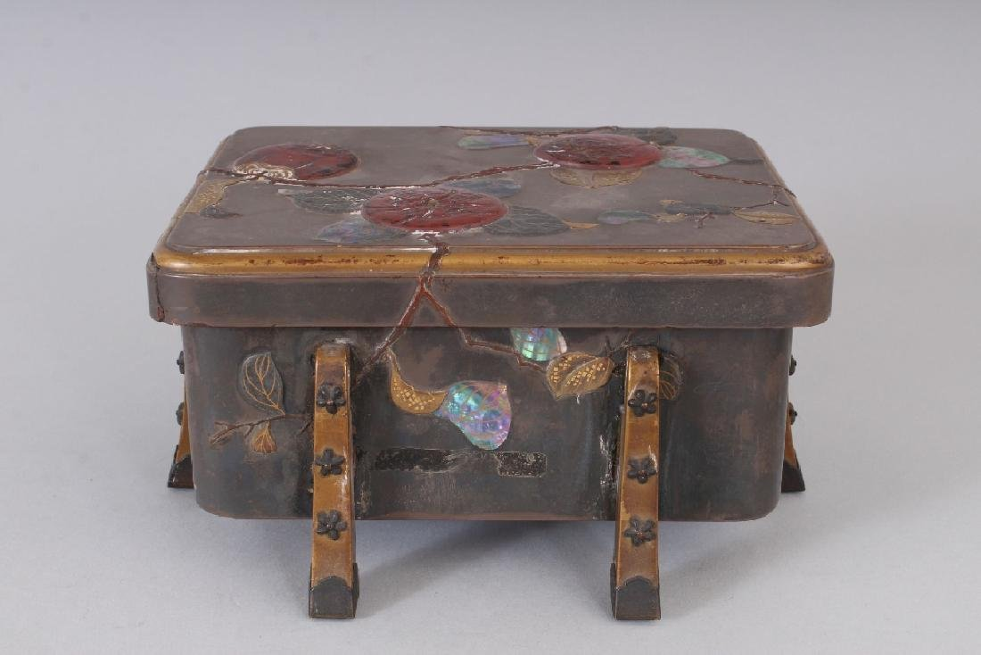 A JAPANESE MEIJI PERIOD LACQUER BOX & COVER, with - 2