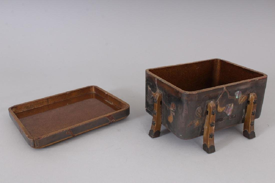 A JAPANESE MEIJI PERIOD LACQUER BOX & COVER, with - 4