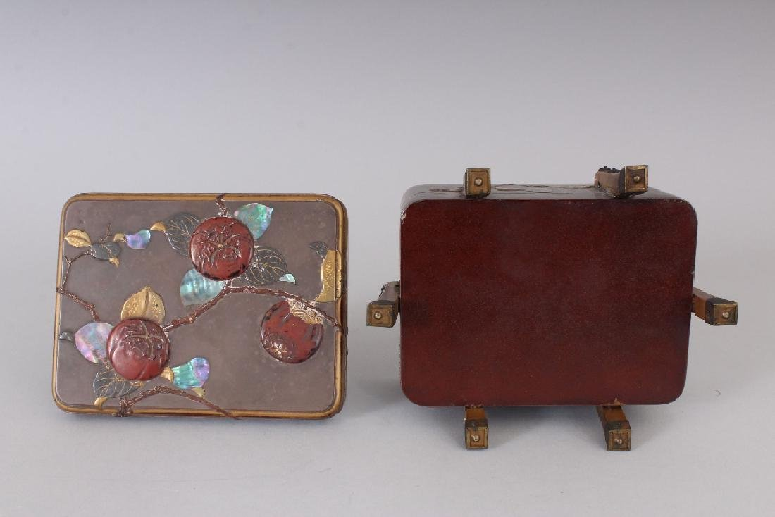 A JAPANESE MEIJI PERIOD LACQUER BOX & COVER, with - 5