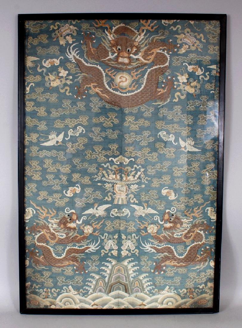 A GOOD 19TH CENTURY FRAMED CHINESE KESI BLUE GROUND