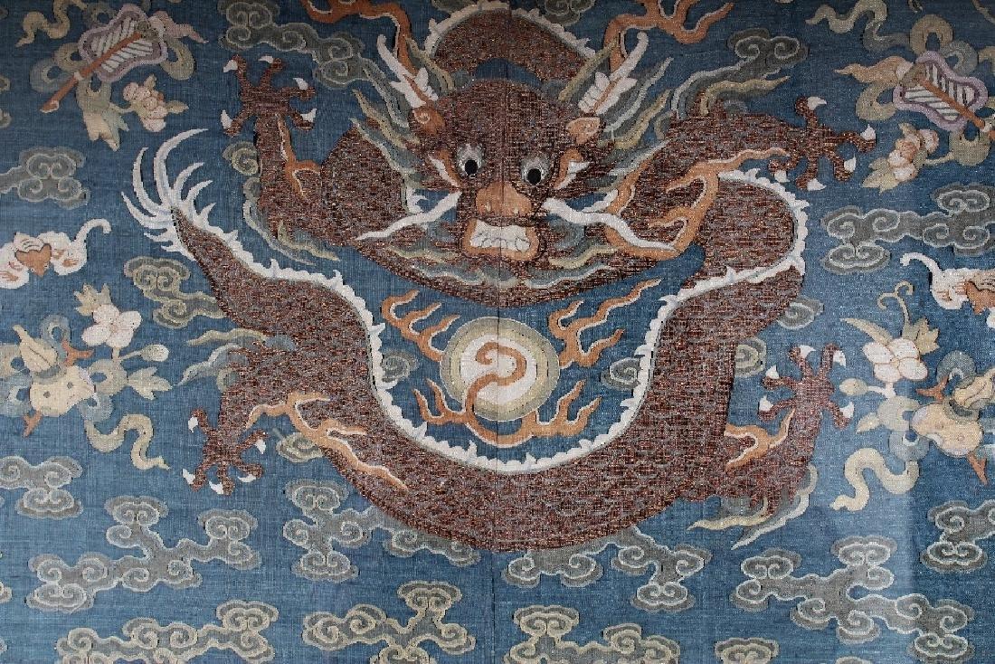 A GOOD 19TH CENTURY FRAMED CHINESE KESI BLUE GROUND - 2