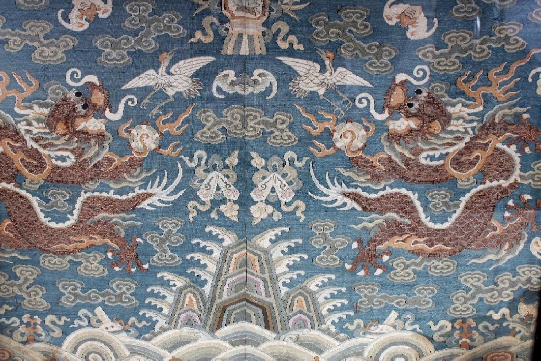 A GOOD 19TH CENTURY FRAMED CHINESE KESI BLUE GROUND - 3