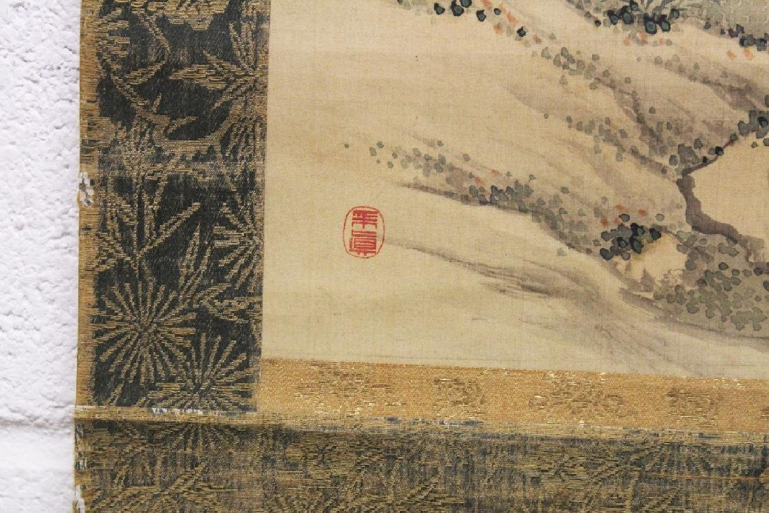 A GOOD QUALITY CHINESE HANGING SCROLL PAINTING ON SILK, - 5