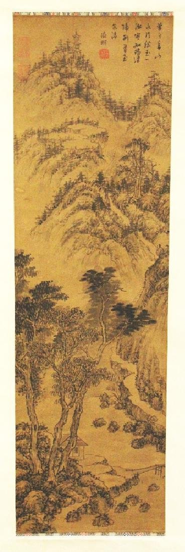 A CHINESE HANGING SILK SCROLL PICTURE, depicting a