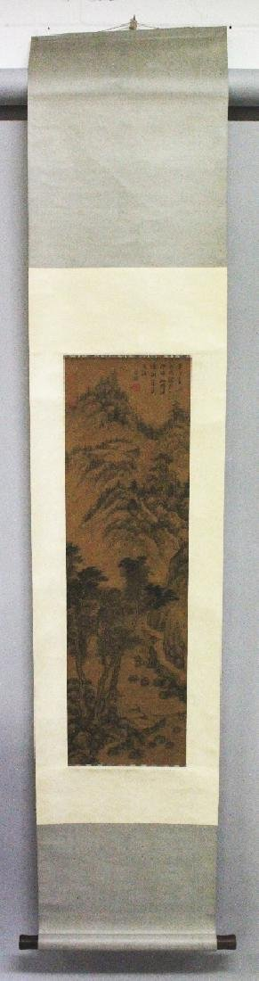 A CHINESE HANGING SILK SCROLL PICTURE, depicting a - 2