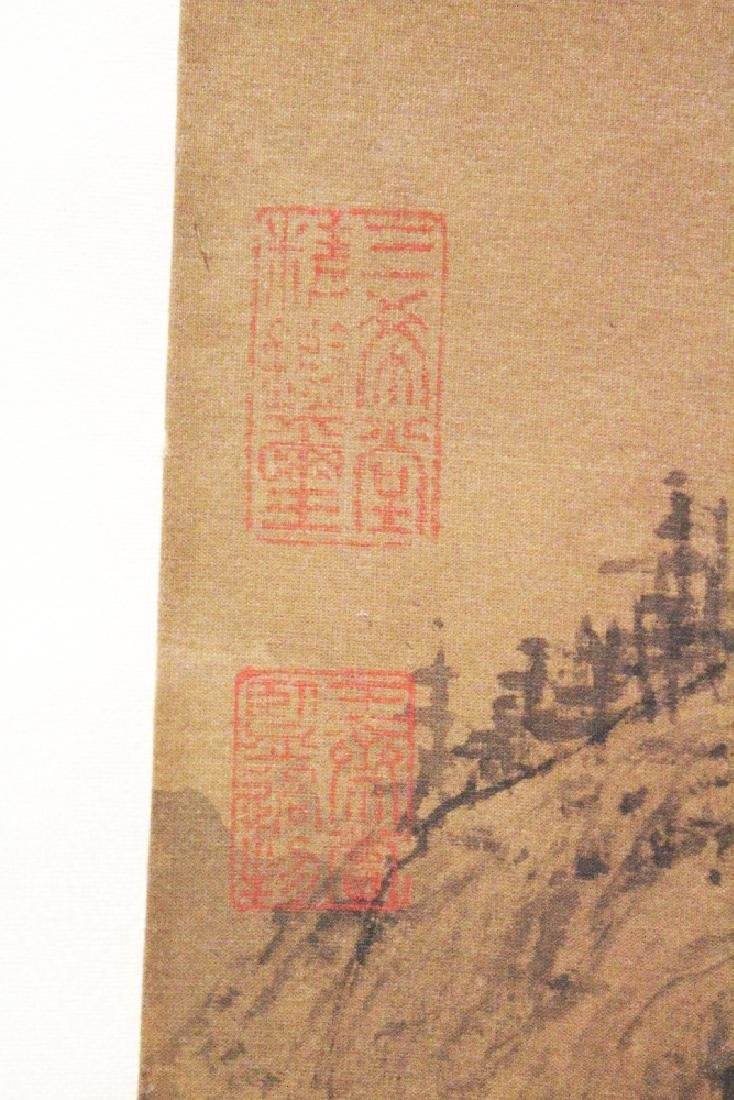 A CHINESE HANGING SILK SCROLL PICTURE, depicting a - 5